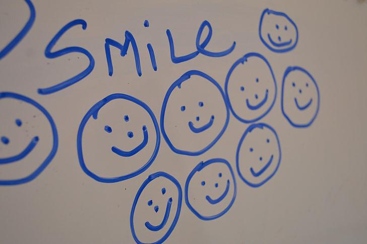 Посмішка, смайлик, посміхаючись, посмішки, білий, дошка, дошка