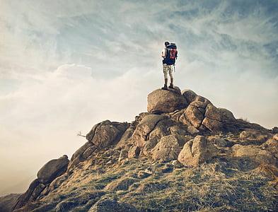 adult, adventure, backpack, climb, climber, daylight, foggy