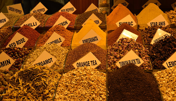 tee, Bazar, Bazaar, krydda, kryddor, torkade, marknaden
