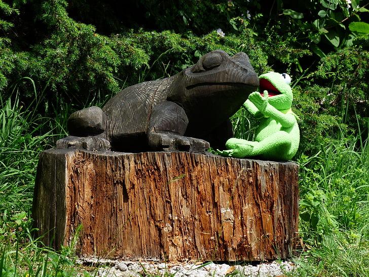 Kermit, žaba, hovoriť, hovoriť o, hovoriť k sebe navzájom, drevo, Carving