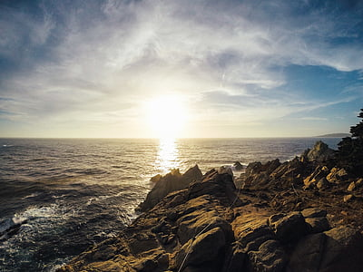 platja, Costa, Alba, capvespre, oceà, a l'exterior, roques