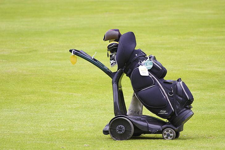 golf, bag, equipment, club, grass, golf-club, green