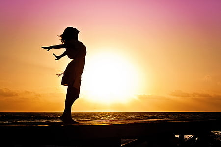 woman, happiness, sunrise, silhouette, dress, beach, dom
