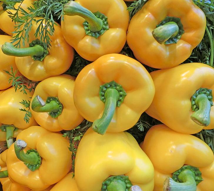 paprika, kollane, terve, turu, köögiviljad
