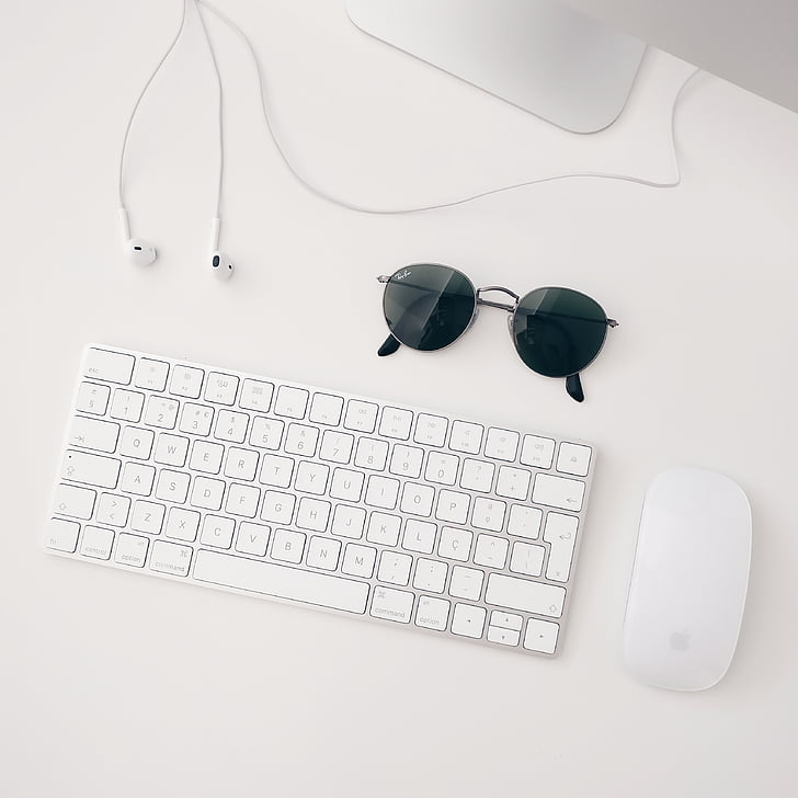 sunglasses, mouse, keyboard, earphones, computer, business, office