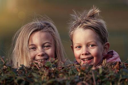 copii, gradina, toamna, ascunde, juca, distractiv, obrajii