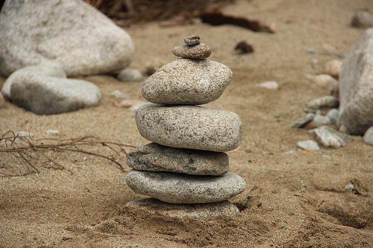 stones, pebbles, sand, stone tower