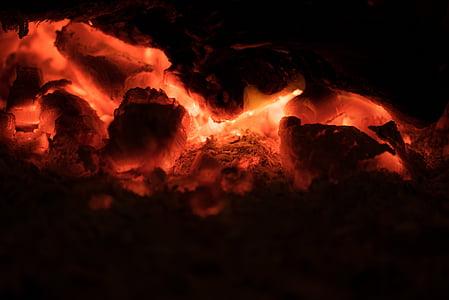 foc, vermell, flama, llar de foc, detall, carbó, brases