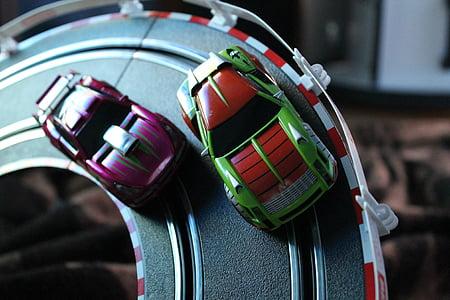 Carrera, Automatycznie, czerwony, miniaturowe, zabawki, motoryzacyjny, samochodowe