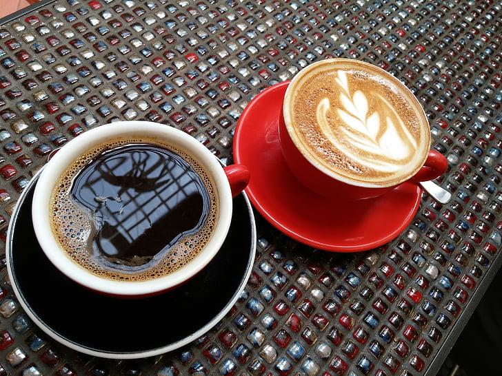 koffie, Latte, koffiehuis, zwarte koffie, rode kop, Latte schuim, ochtend