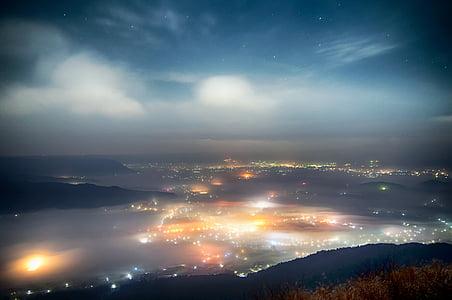 japan, kumamoto, aso, cloud, somma, sea of clouds, night