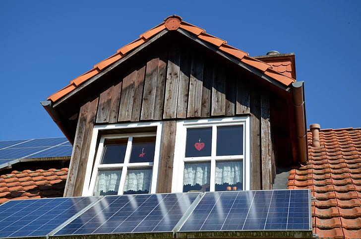fotovoltaiques, casa, sostre, energia, fusta, finestra, actual