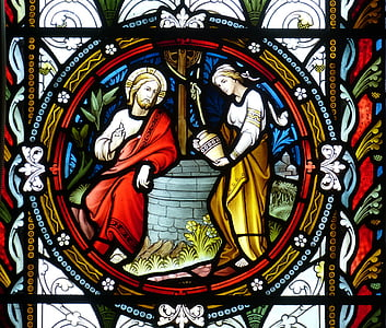 baznīca, logs, baznīcas logu, vitrāžas, ticības, attēlu, Bībele