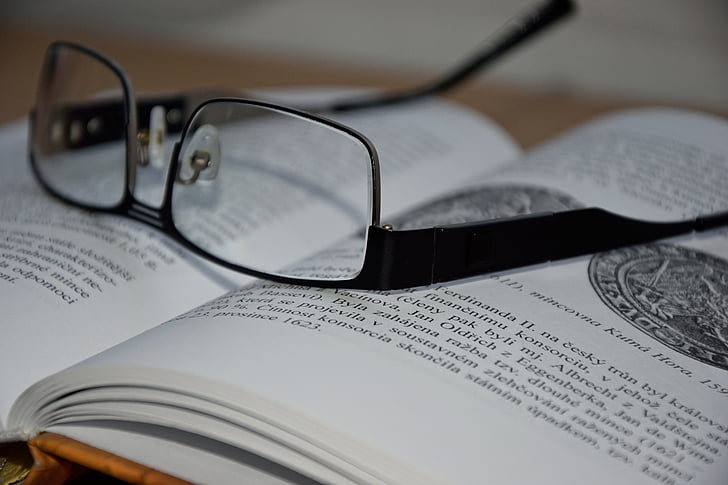 clever, glasses, book, learning, textbook, teacher, history