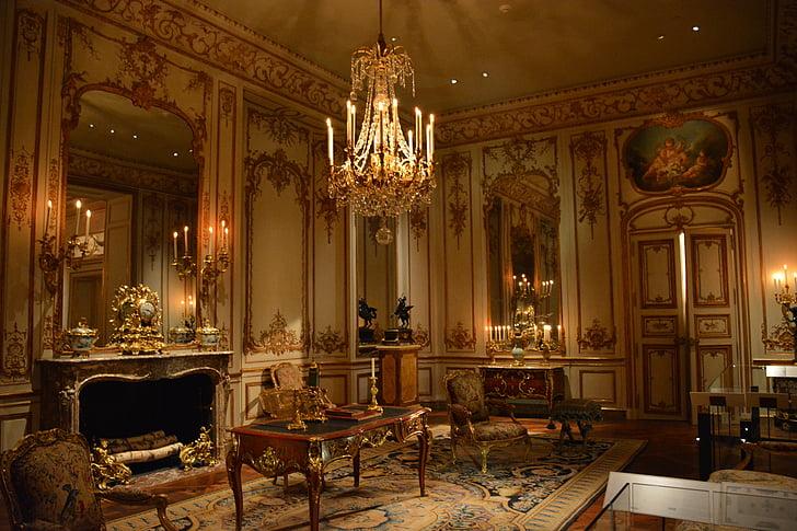 Castell, europeu, interiors, sala d'estar, luxe, Palau, Palau