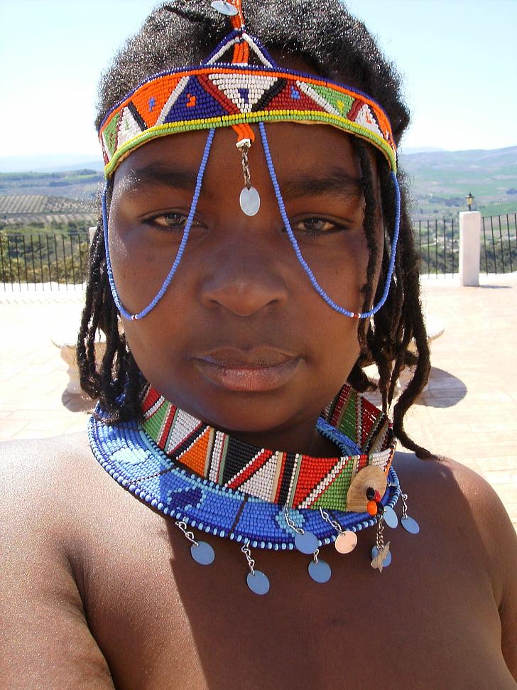 kadın, Afrika, kabile, çıplak, adam, portre, Takı