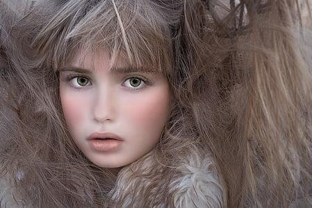 Person, menschlichen, Weiblich, Gesicht, Haare, Wirre Haar, Porträt