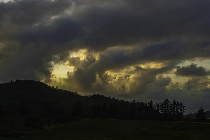 ท้องฟ้า, พายุ, สีเข้ม, เมฆพายุ, น่าทึ่ง