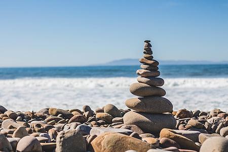 Balance, plage, profondeur de champ, eocks, océan, roches d'équilibrage, roches