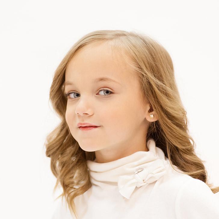 meisje, jonge, blauw, ogen, blik, op zoek, stijl
