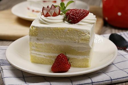 bolo pequeno, de cozimento, delicioso, bolo de morango, sobremesa, comida, frutas
