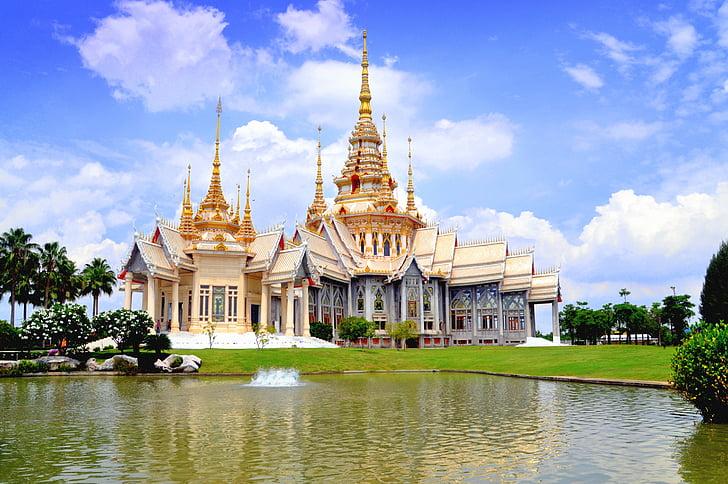 Thailand, Tempel, berühmte, traditionelle, Blau, Wat, Religion