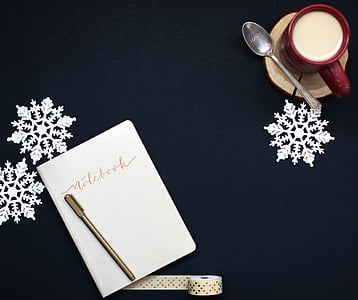 blank, business, christmas, coffee, decoration, desk, diary