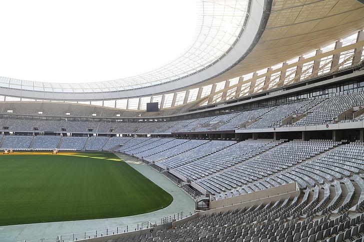 Estadi de futbol, Estadi, files de seients, tribuna, ciutat cap, Sud-àfrica