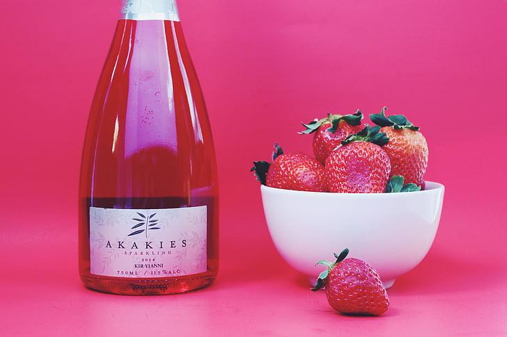 strawberry, strawberries, wine, wine bottle, sparkling rose, berries, red