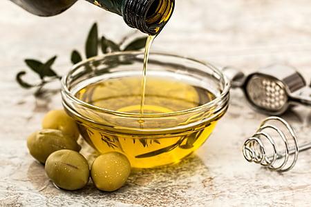 маслини, масло, прозрачен, купа, храна, кухня, маслиново масло