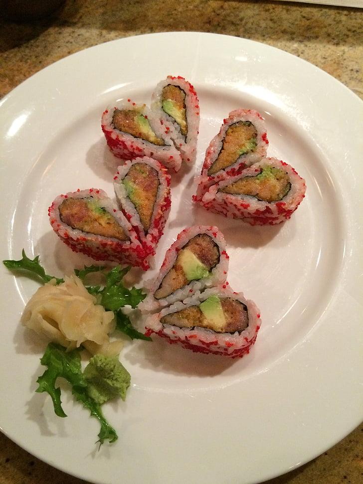 Sushi, hart, Valentijn, keuken, voedsel, plaat, gastronomische