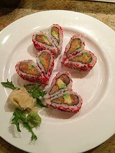 Sushi, cuore, San Valentino, cucina, cibo, piastra, Gourmet