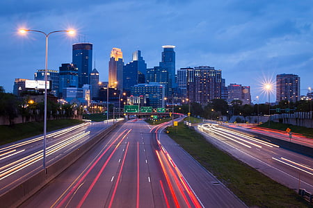 timelapse, photography, cityscape, Minneapolis, city, urban, traffic