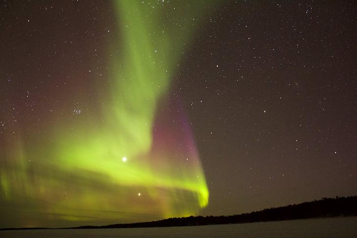 đêm, đèn phía bắc, bầu trời, sao, ngôi sao - space, Thiên văn học, Aurora borealis