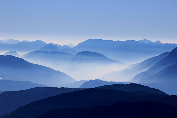 mountains, passes, clouds, mist, haze, hover, silhouette
