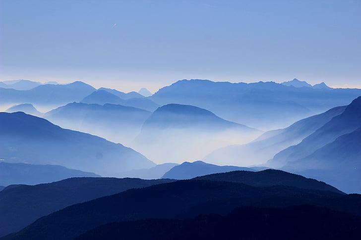 muntanyes, passa, núvols, boira, boira, voltar, silueta