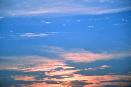 ουρανός, ηλιοβασίλεμα, βραδινό ουρανό, σύννεφα, μπλε, φύση, ροζ