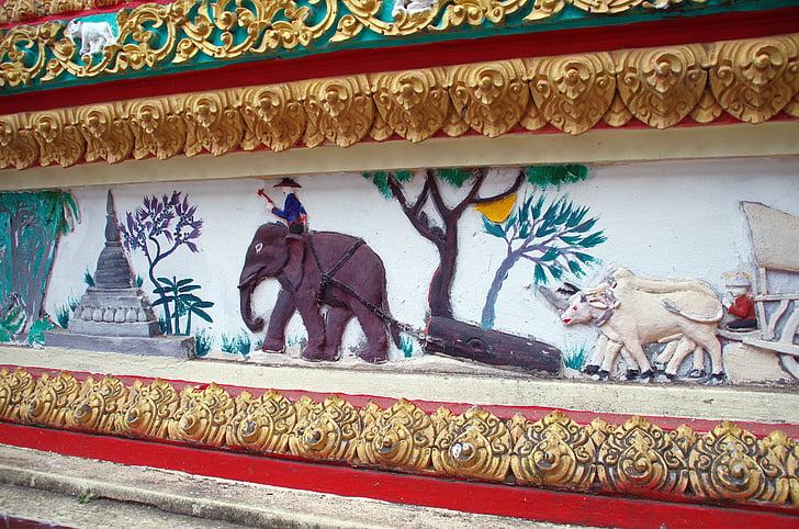 Laos, Vientián, mosaico de, mural, personajes, historias, Templo de