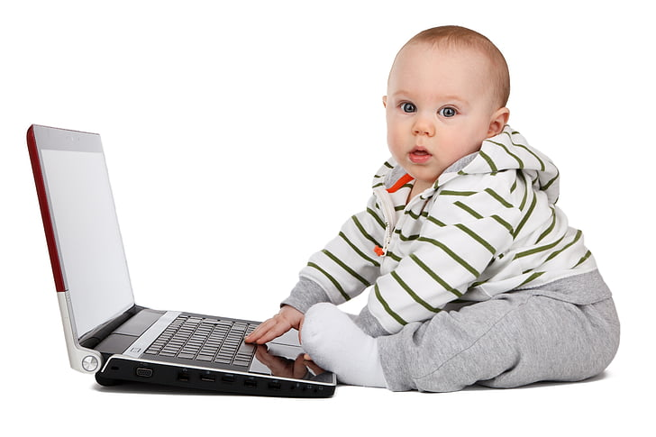 baby, sitting, beside, laptop, computer, boy, child
