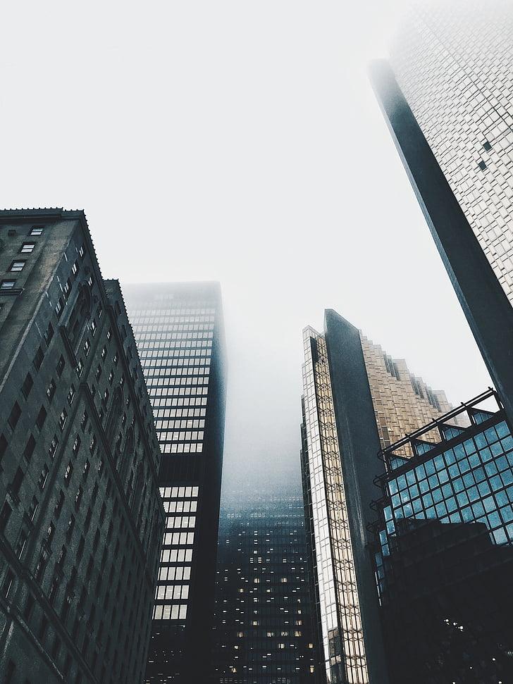 buildings, skyscrapers, sky, foggy, urban, modern, office