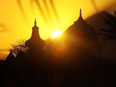 solen, Palm, solnedgång, buddhismen, Myanmar, Buddha, Asia