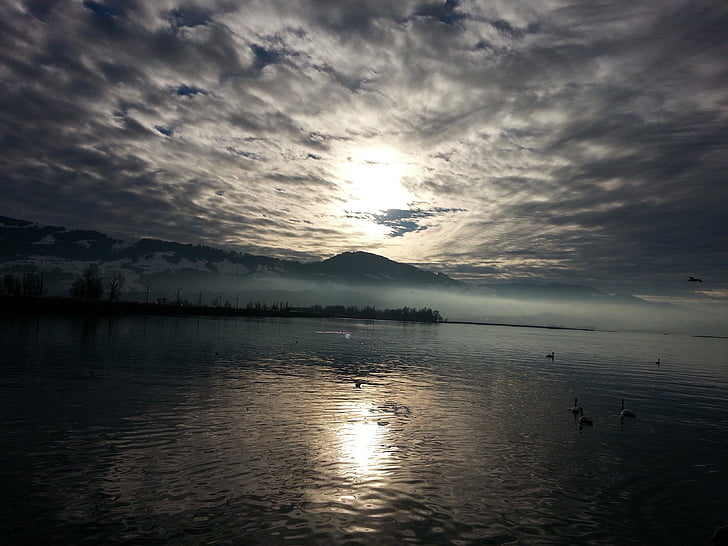 abendstimmung, озеро, облака, воды, Природа, Проживание, Вечер