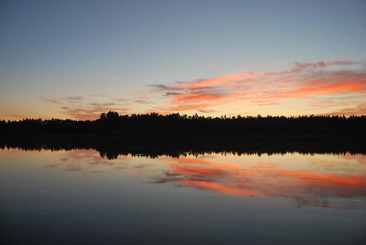 Закат, озеро, abendstimmung, Солнце, Романтика, Финляндия