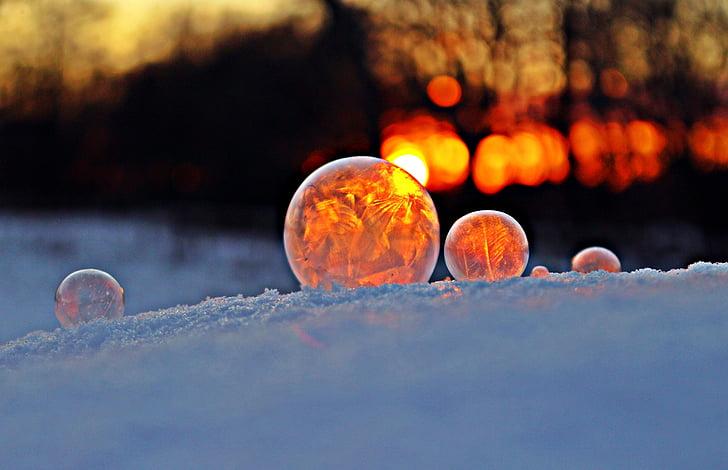 bombolla de sabó, neu, posta de sol, Afterglow, l'hivern, gelades, fred