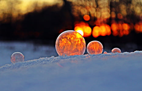 soap bubble, snow, sunset, afterglow, winter, frost, cold