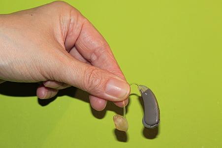kéz, hallókészülék, süketség, Figyelj