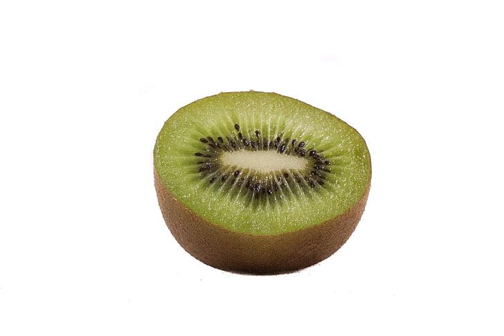 frugt, hvid baggrund, makro, Kiwi, cut, grøn, tværsnit