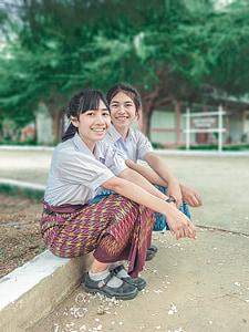 estudiants, l'aprenentatge, l'escola, noia, Tailàndia