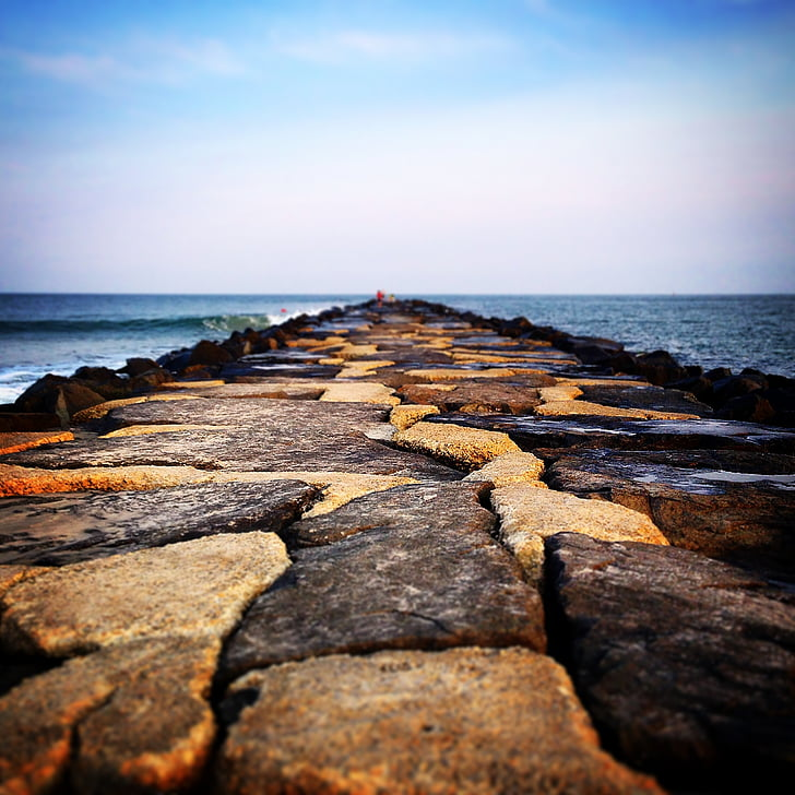 jetée, eau, roches, plage, océan, Pier, été