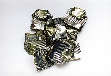 konservikarp, purgid, dented metall, Tina, konteiner, Silver, metallik